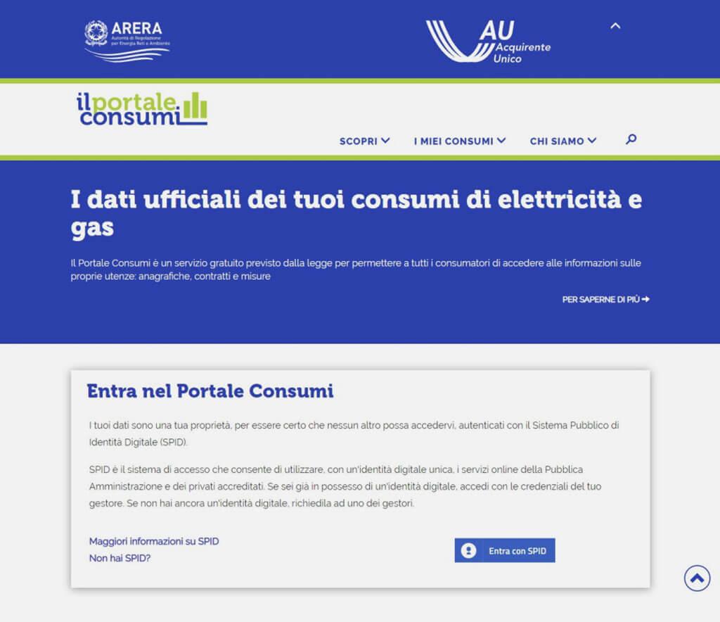 Area portale consumi